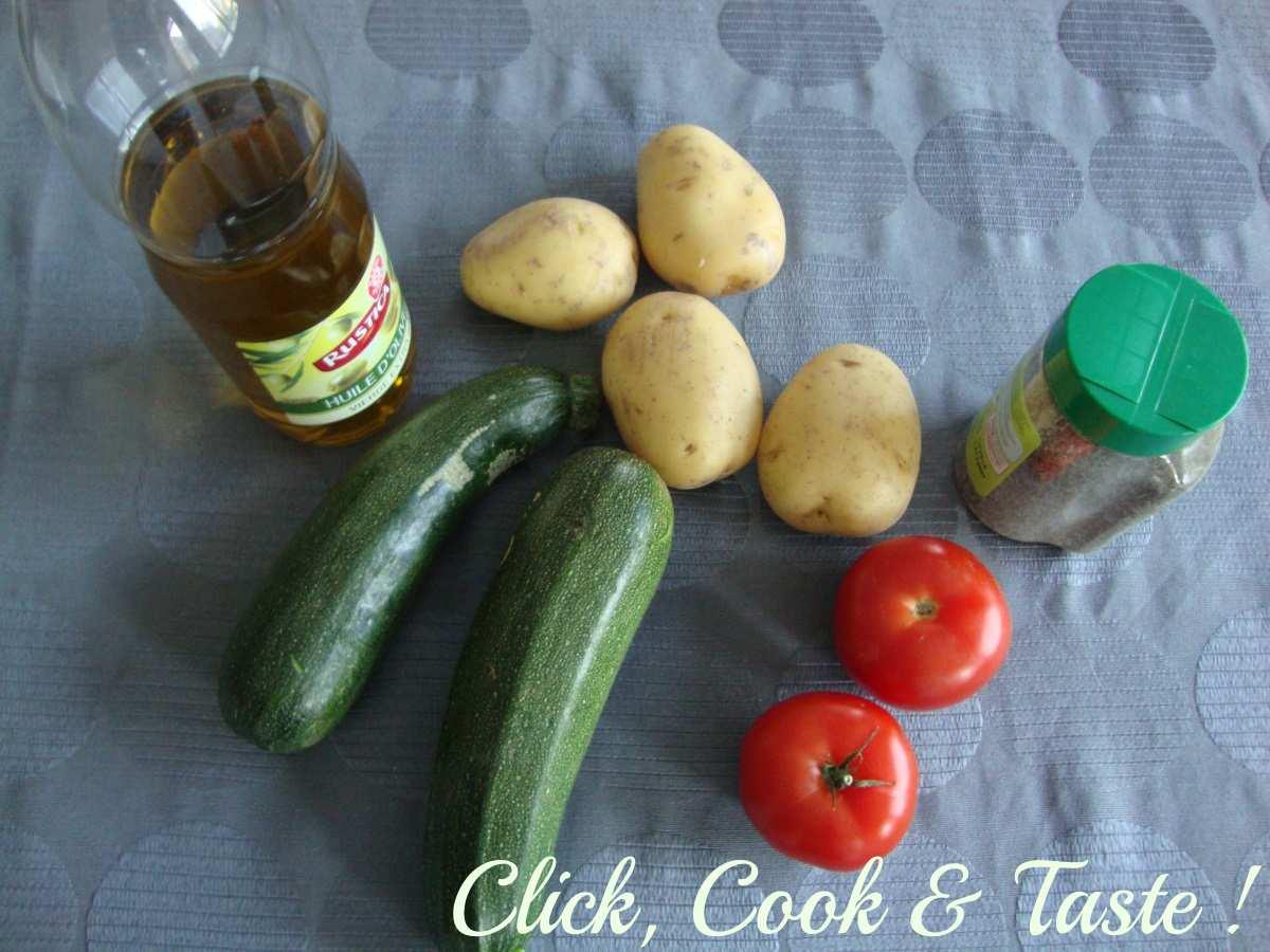 Gratin pommes de terre - courgettes - tomates