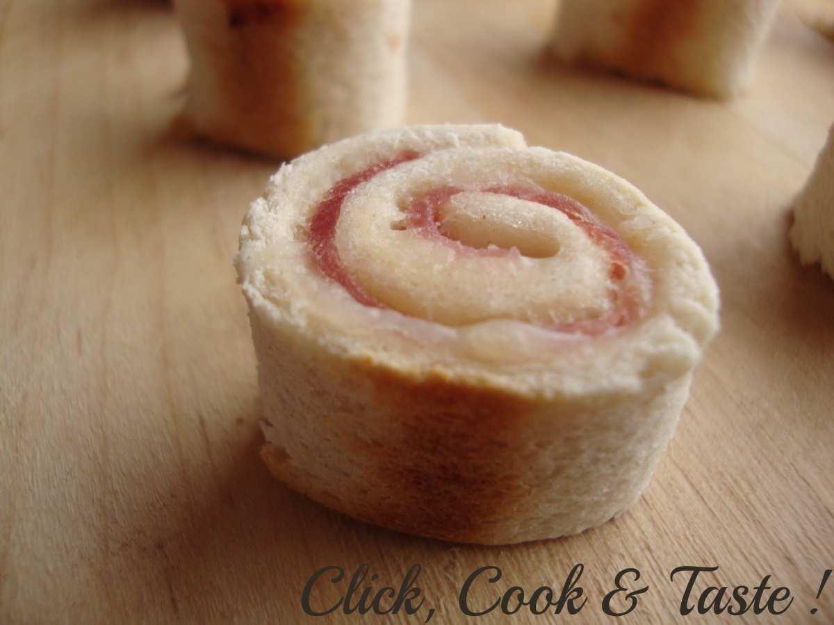 Maki de pain de mie : jambon - crème - emmental