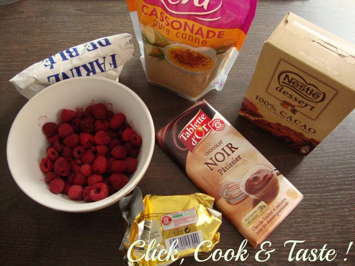 Crumble chocolat - framboises (et poire)