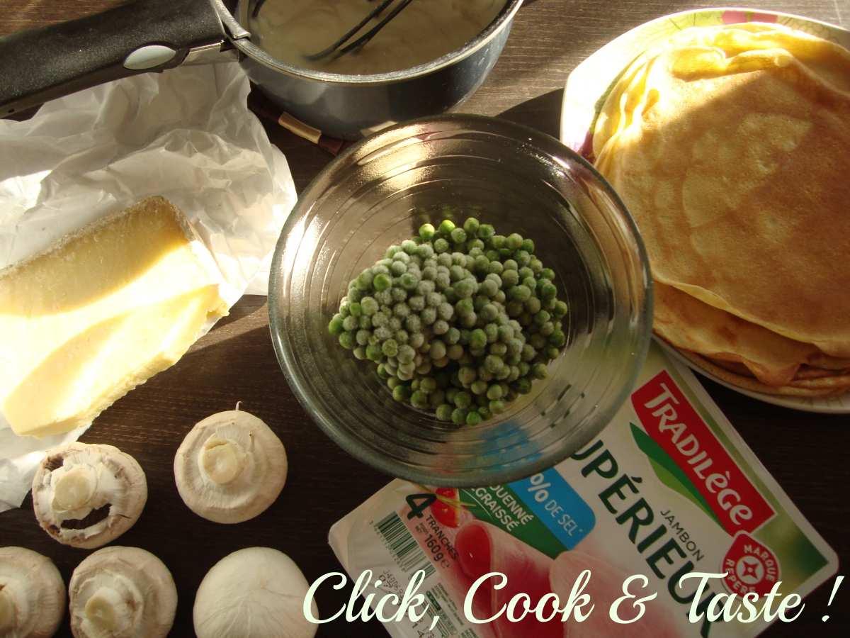 Gâteau de crêpes salé (petits pois, jambon, champignons) - Battle food #15