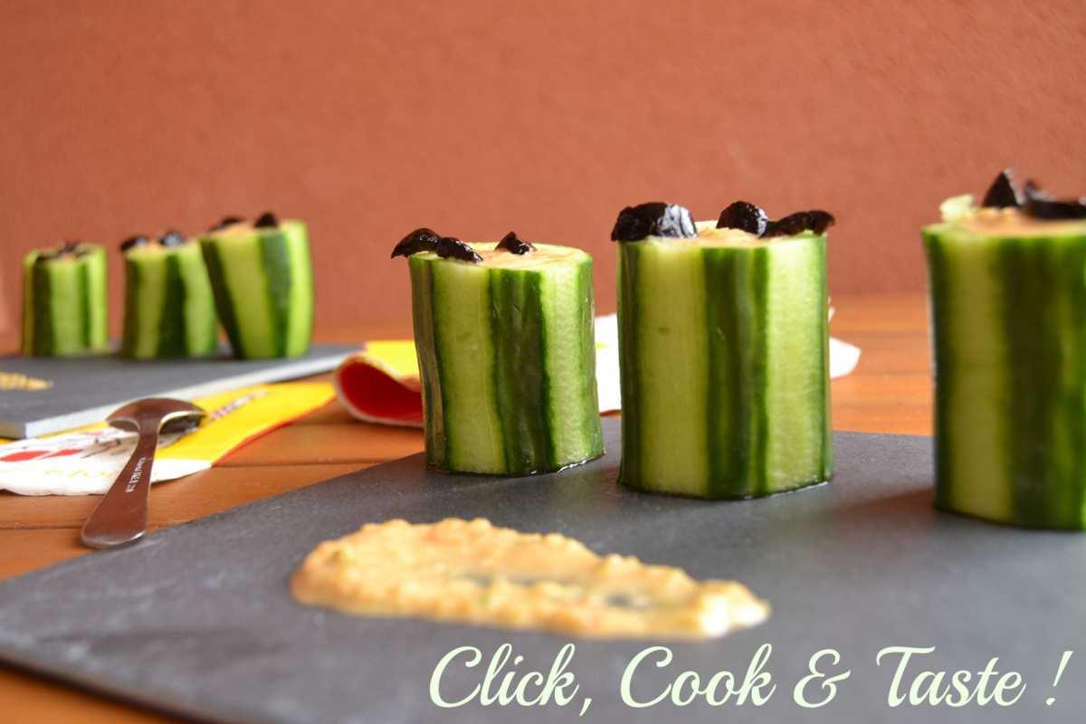 Tapas : bouchées de concombre à la sauce de poivrons - Battle food #21