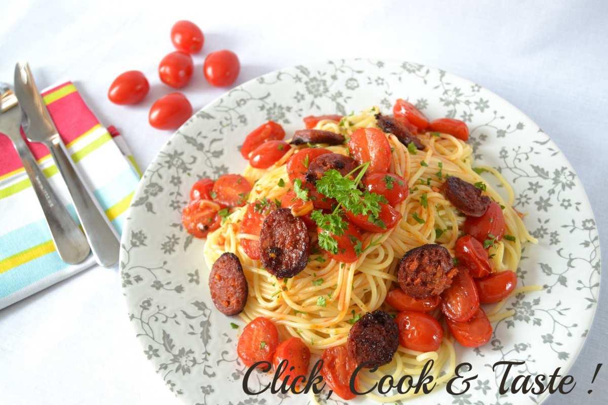 Pâtes au chorizo et tomates cerises