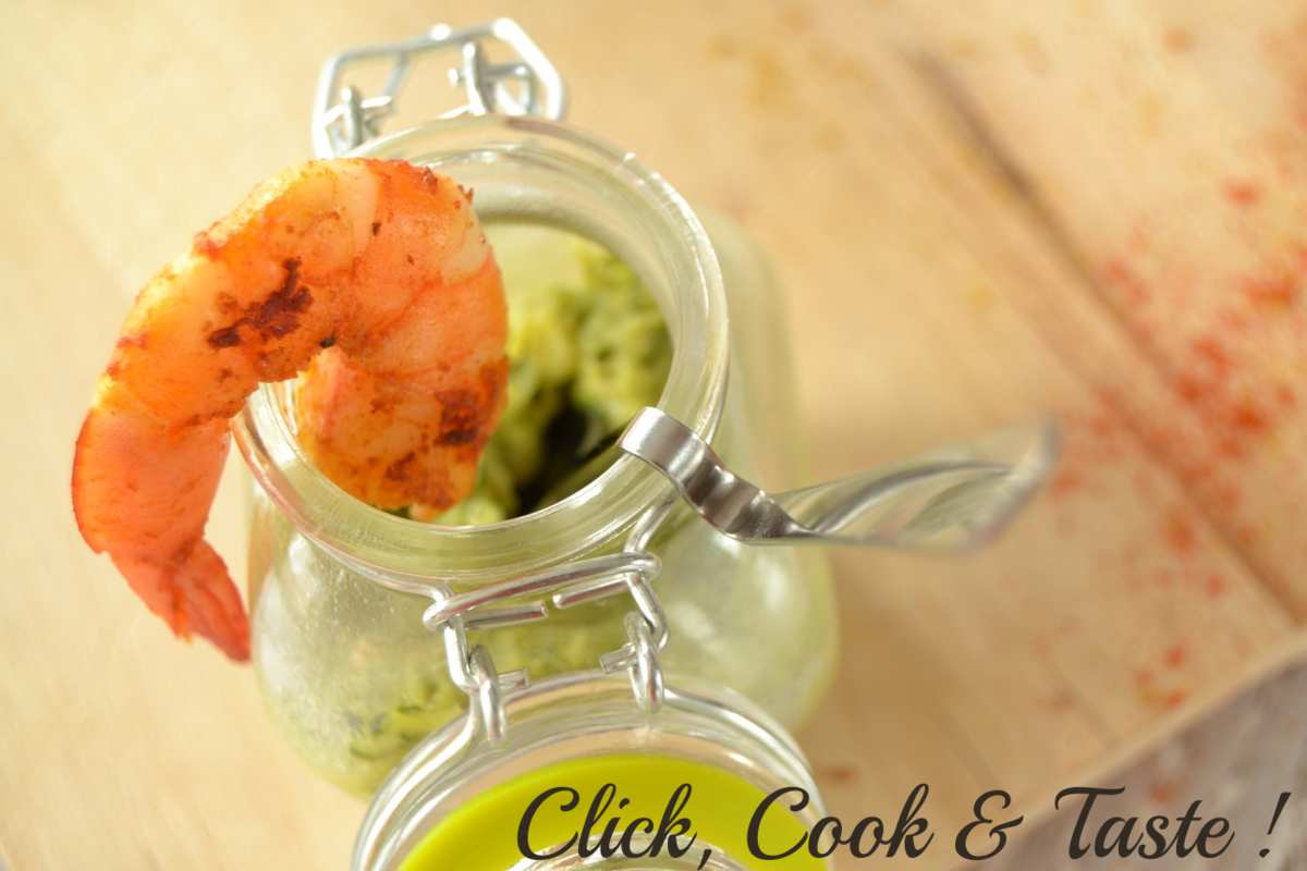 Verrines de courgette au curry et lait de coco et crevettes sautées - Battle food #22