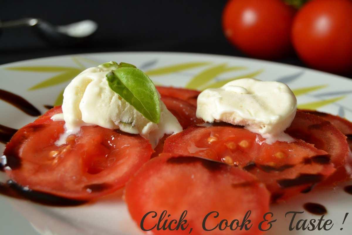 Glace au chèvre et basilic - tomates au vinaigre balsamique - Battle Food #23