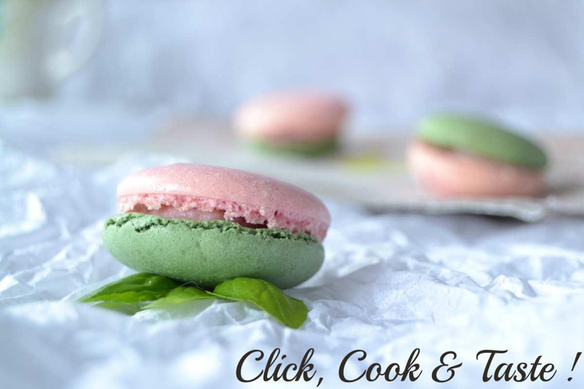 Macarons fraise et basilic